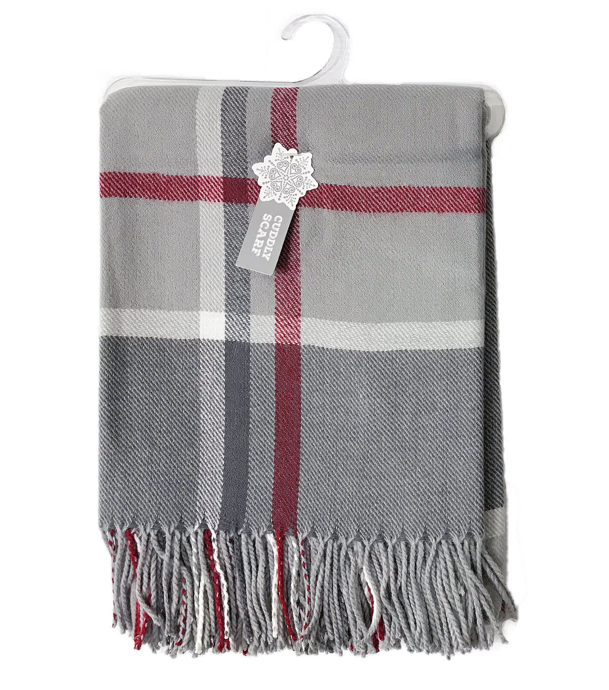 db3cfe1a8d03e Christmas Cuddly Blanket Scarf-Gray, White & Red Plaid | JOANN