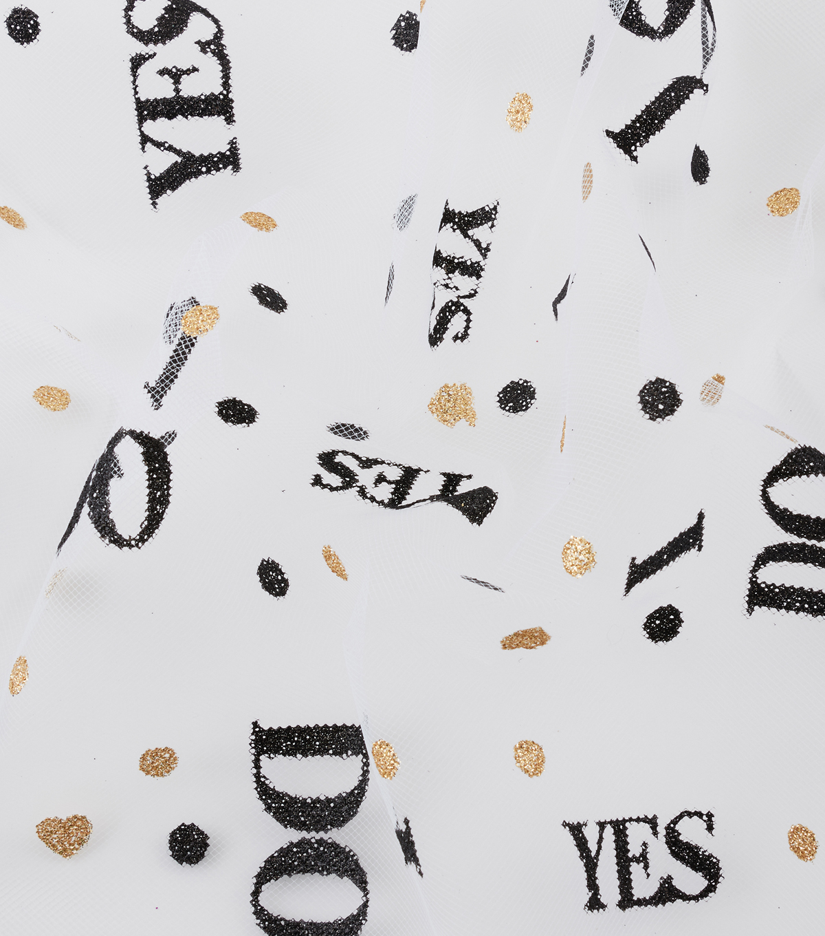 Tulle Polyester Fabric -Yes I Do Gold & Black