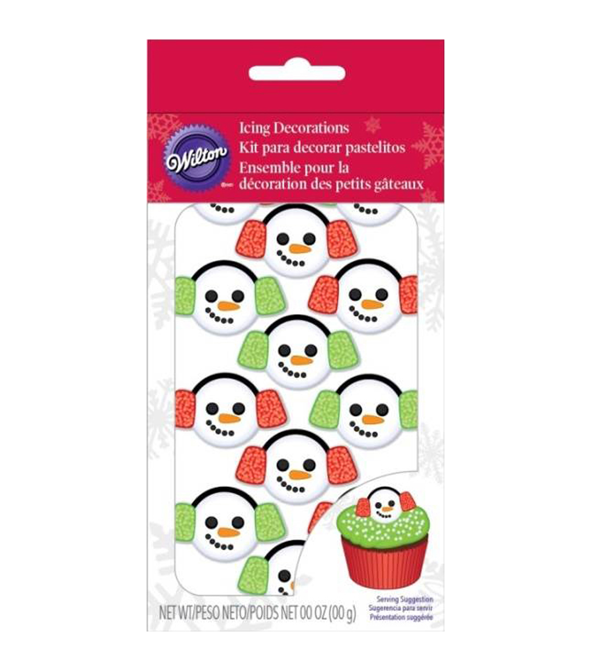 Wilton Pack of 12 Icing Decorations-Snowman Earmuffs