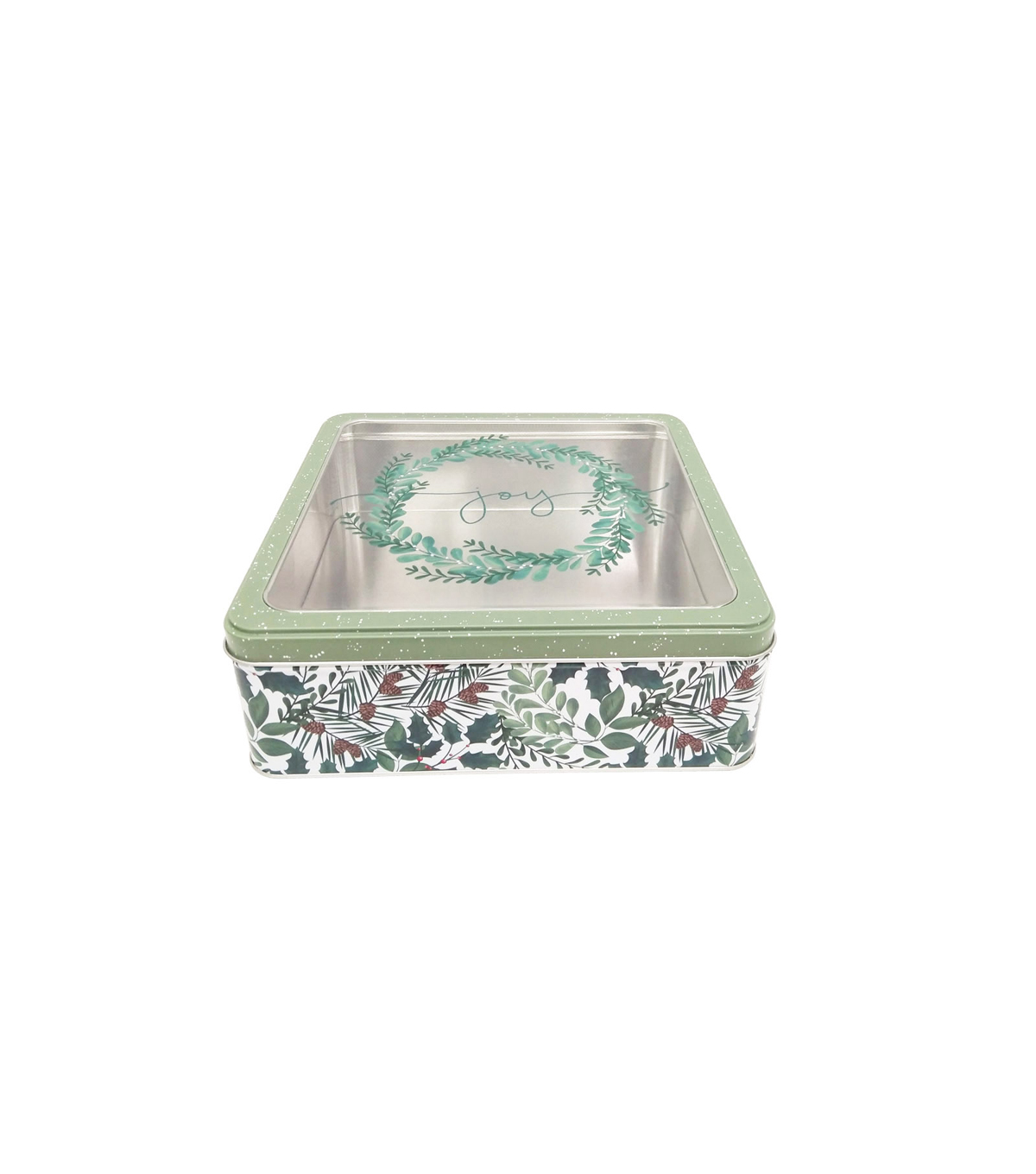 Maker\u0027s Holiday Large Square Cookie Container with Clear Top-Joy