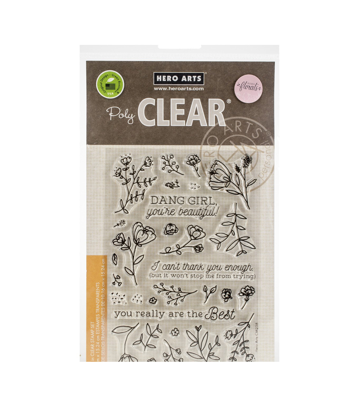 Hero Arts Florals 30 pk Poly Clear Stamps-You\u0027re Beautiful!