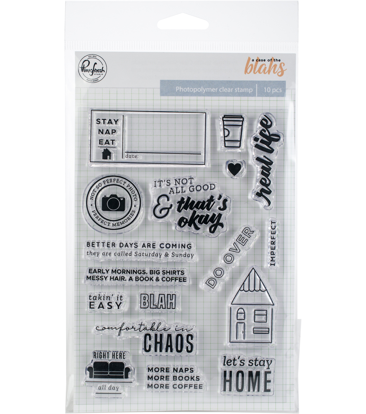 Pinkfresh Studio A Case of the Blahs 18 pk Photopolymer Clear Stamps