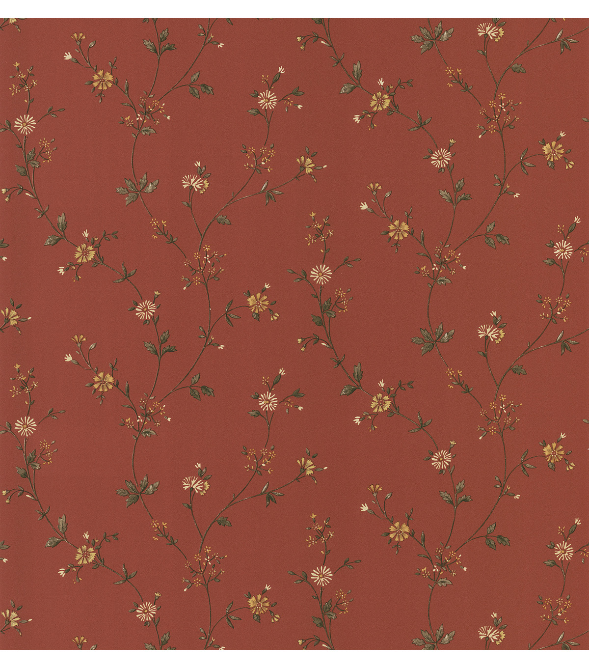 Daisy Red Floral Trail Wallpaper Sample