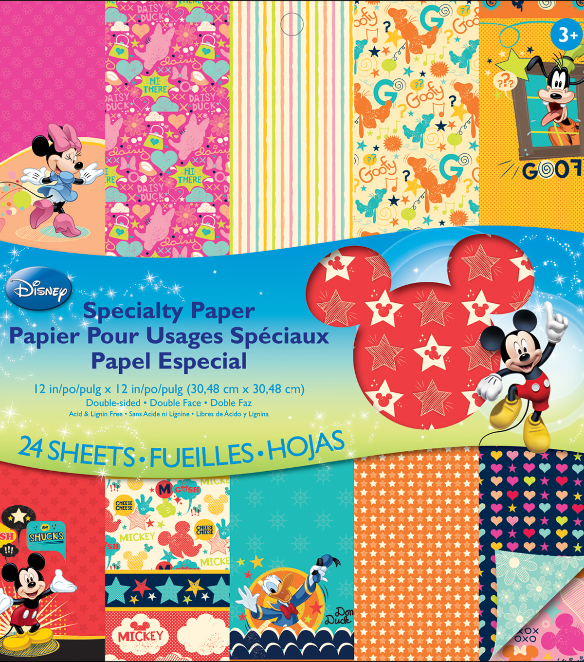 Disney Double Sided Specialty Paper Pad 12x12 24 Sheets Mickey