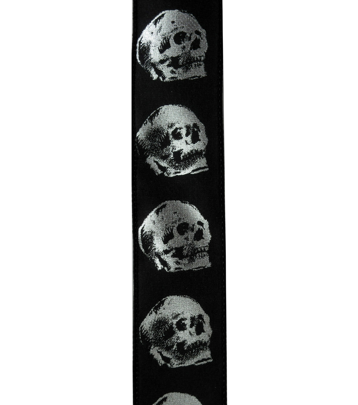 Maker\u0027s Halloween Ribbon 1.5\u0027\u0027x12\u0027-Silver Skulls on Black