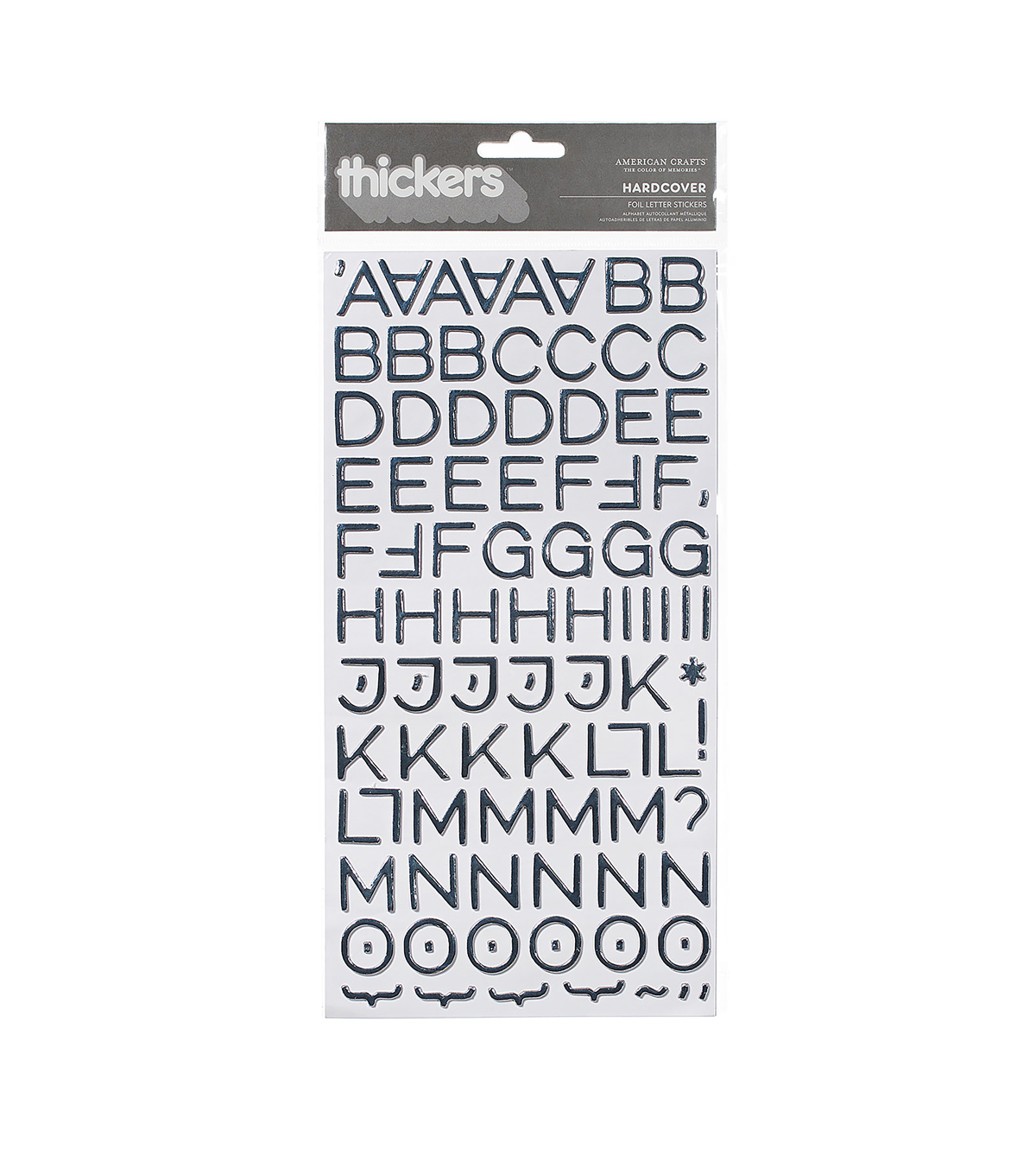 Thickers Foil Stickers 6\u0022X11\u0022 Sheets 2/Pkg-Hardcover, Silver