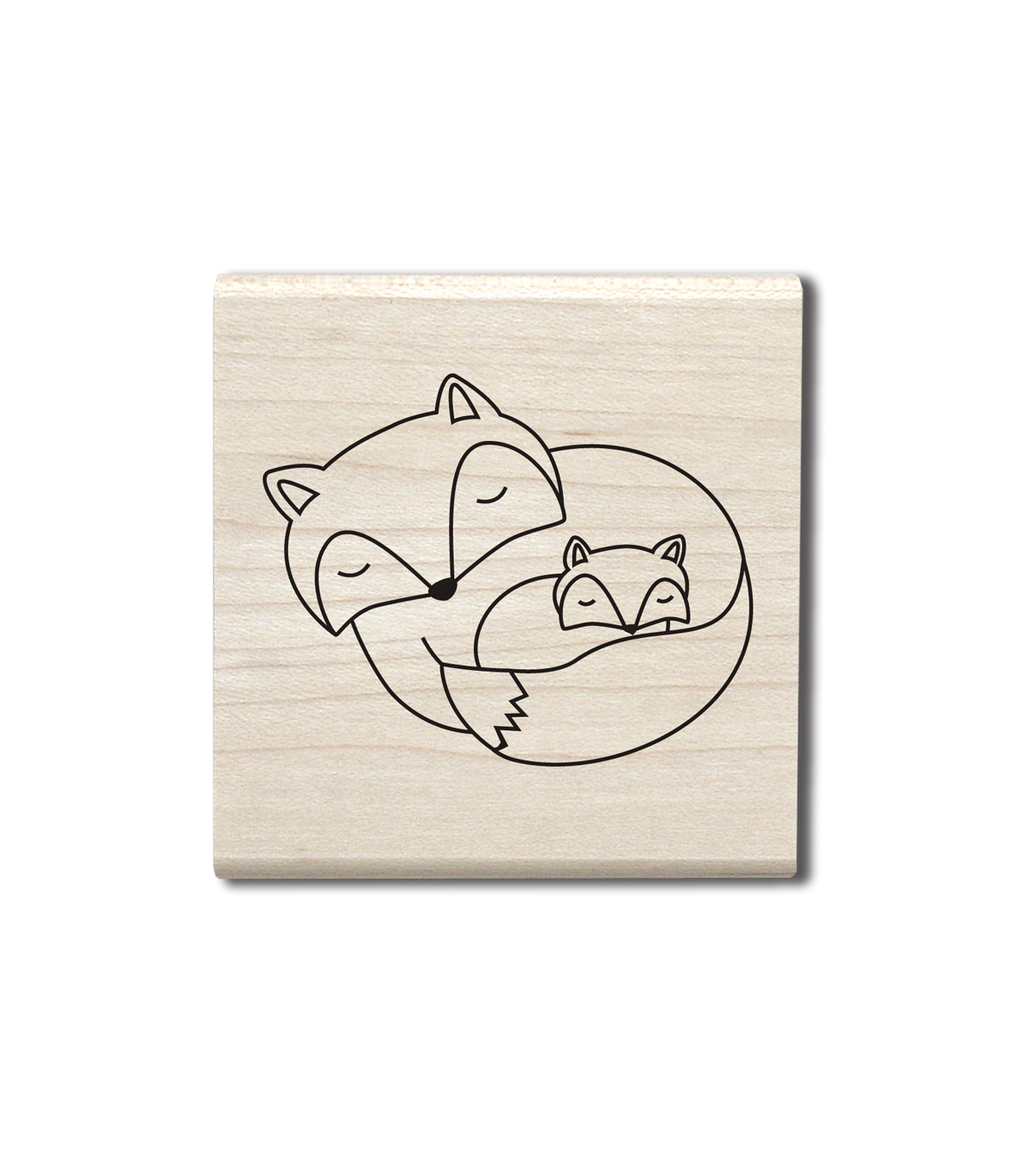 Hampton Art Wood Stamp-Fox Family