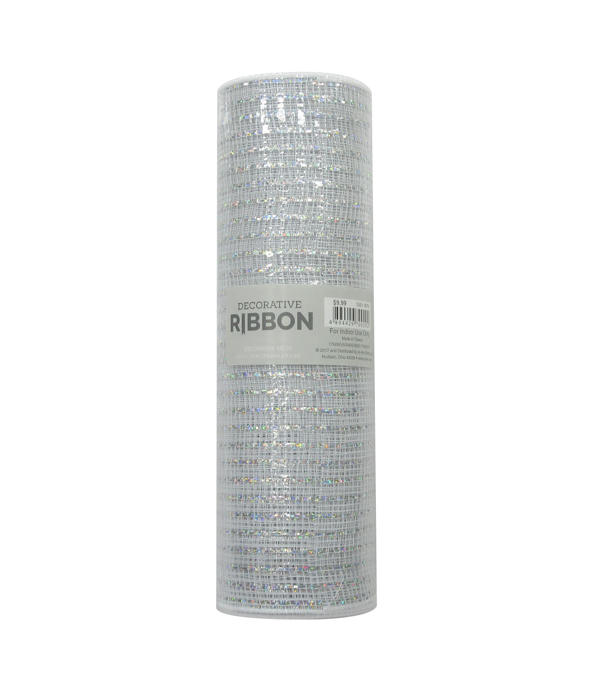 Decorative Ribbon Metallic Deco Mesh 10\u0027\u0027x10 yds-White