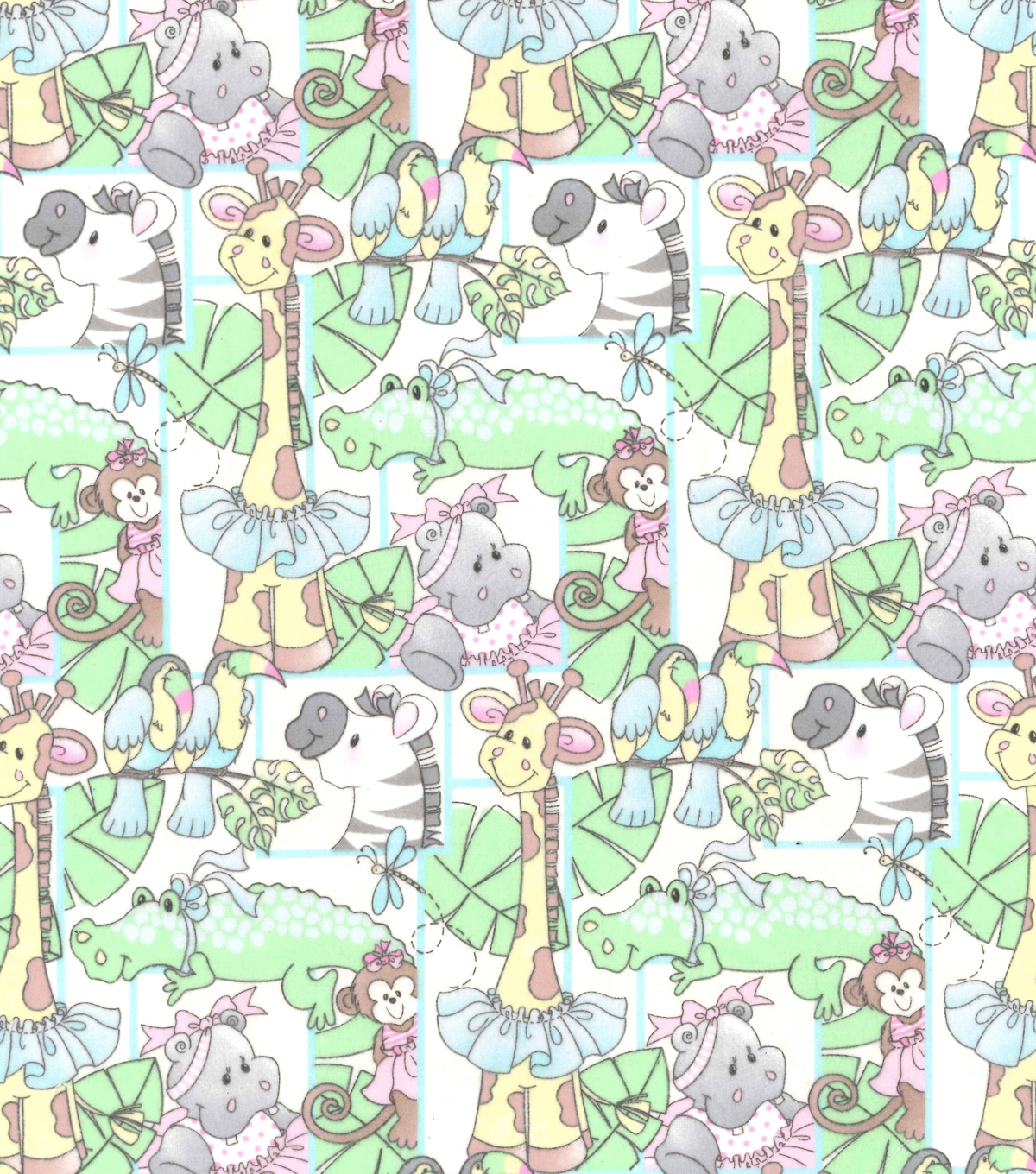 Nursery Flannel Fabric -Jungle Ballet