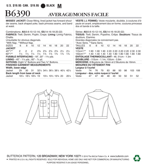 Butterick Pattern B6390 Misses\u0027 Jacket with Bust Pockets-Size 14-22