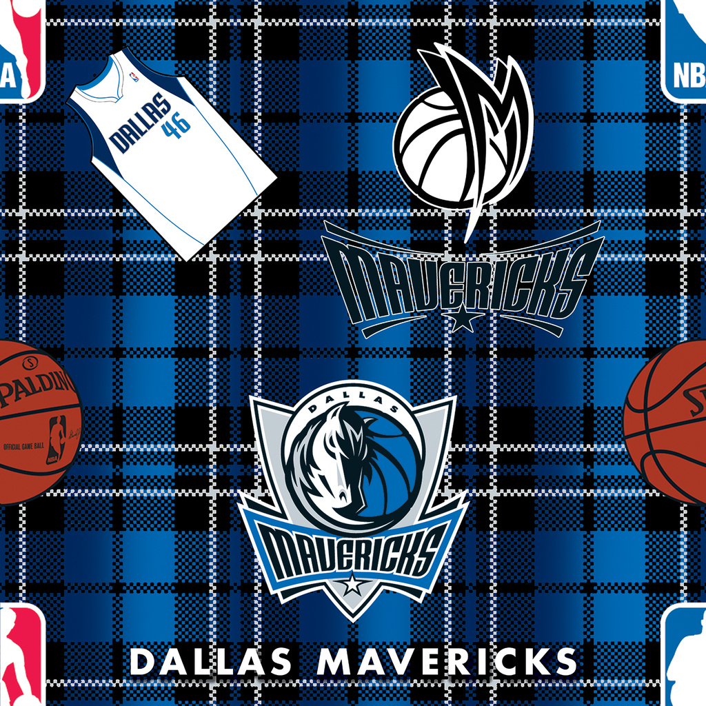 Dallas Mavericks Fleece Fabric -Plaid