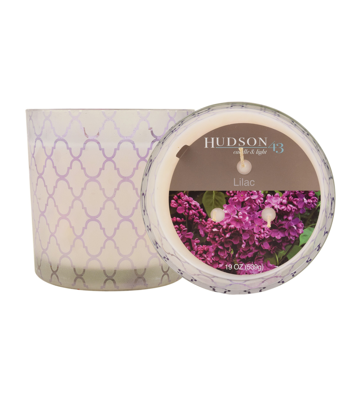 Hudson 43 Candle & Light Collection 19oz Patterned Glass Jar Lilac