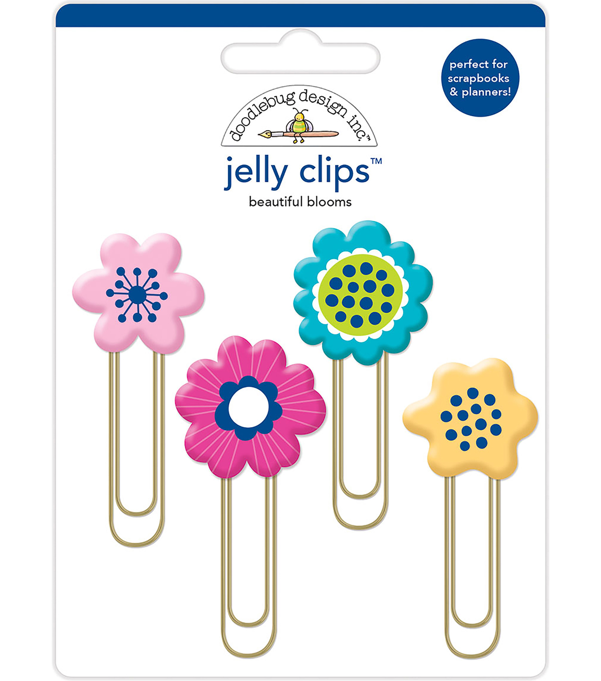 Doodlebug Design 4 pk Jelly Clips-Beautiful Blooms