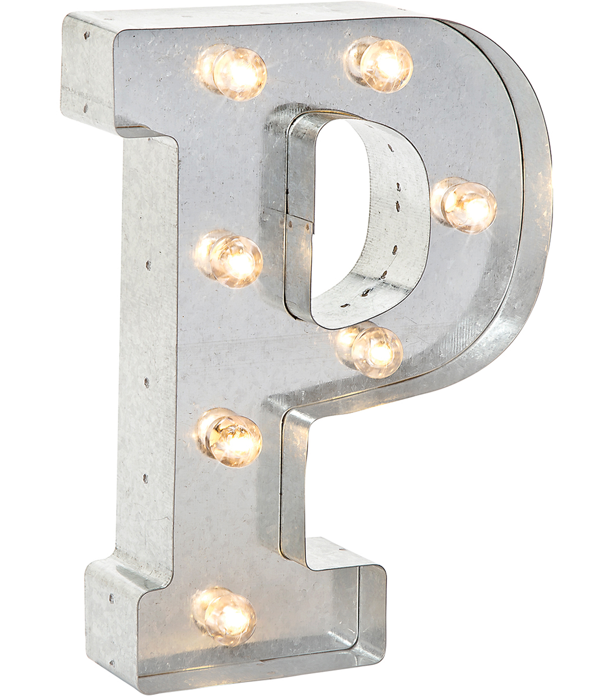 Vintage Lighting Light-Up Marquee Letter P 10\u0027\u0027-Silver