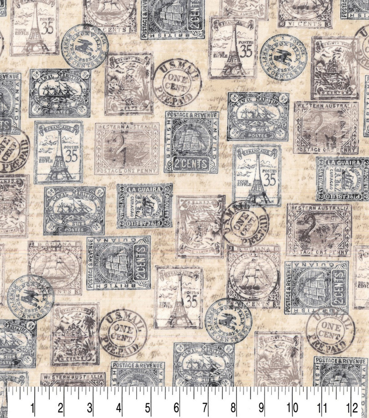 Novelty Cotton Fabric Antique Postage Stamps