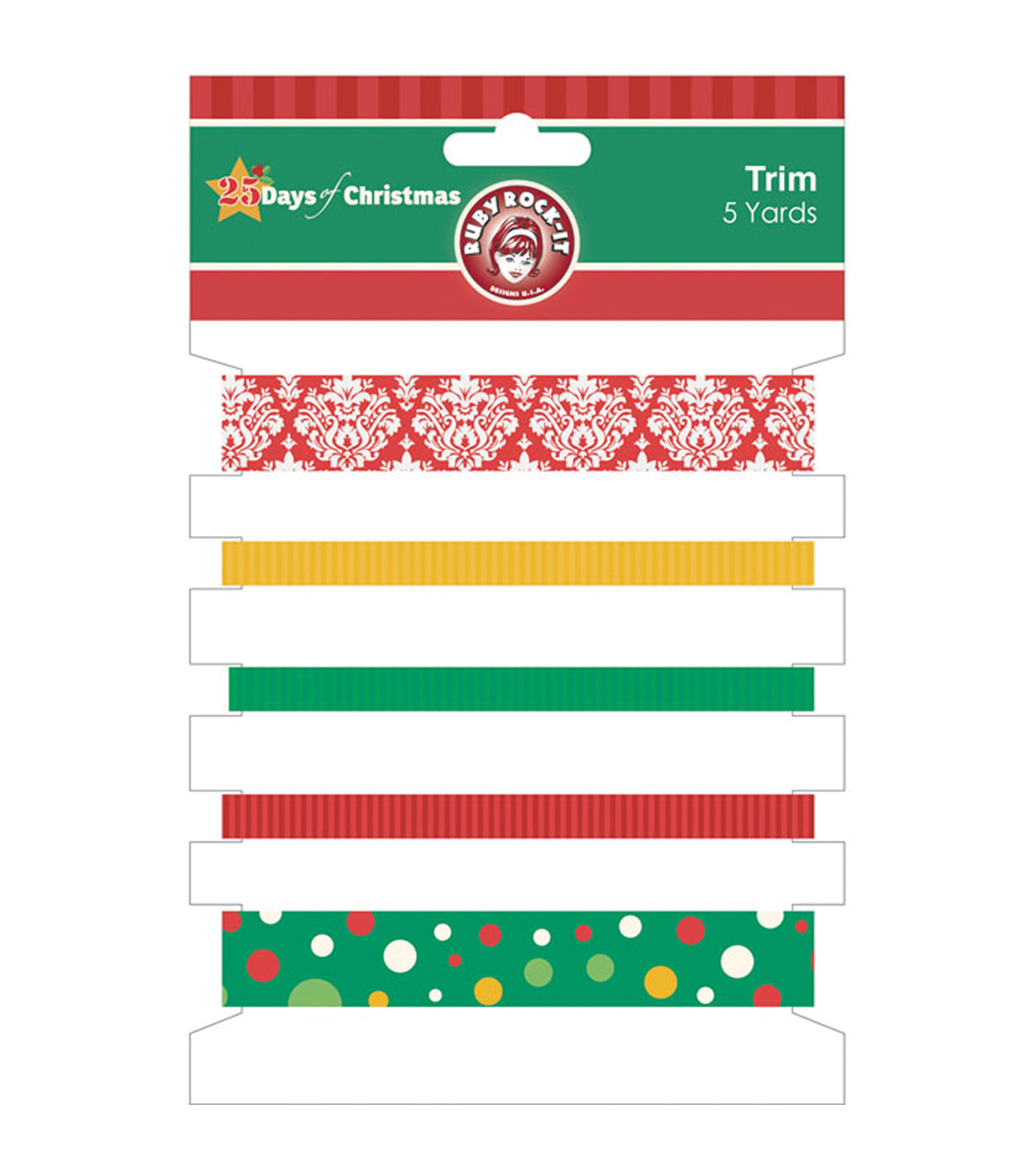 25 Days Of Christmas Trim 5 Styles/1 Yard Each-