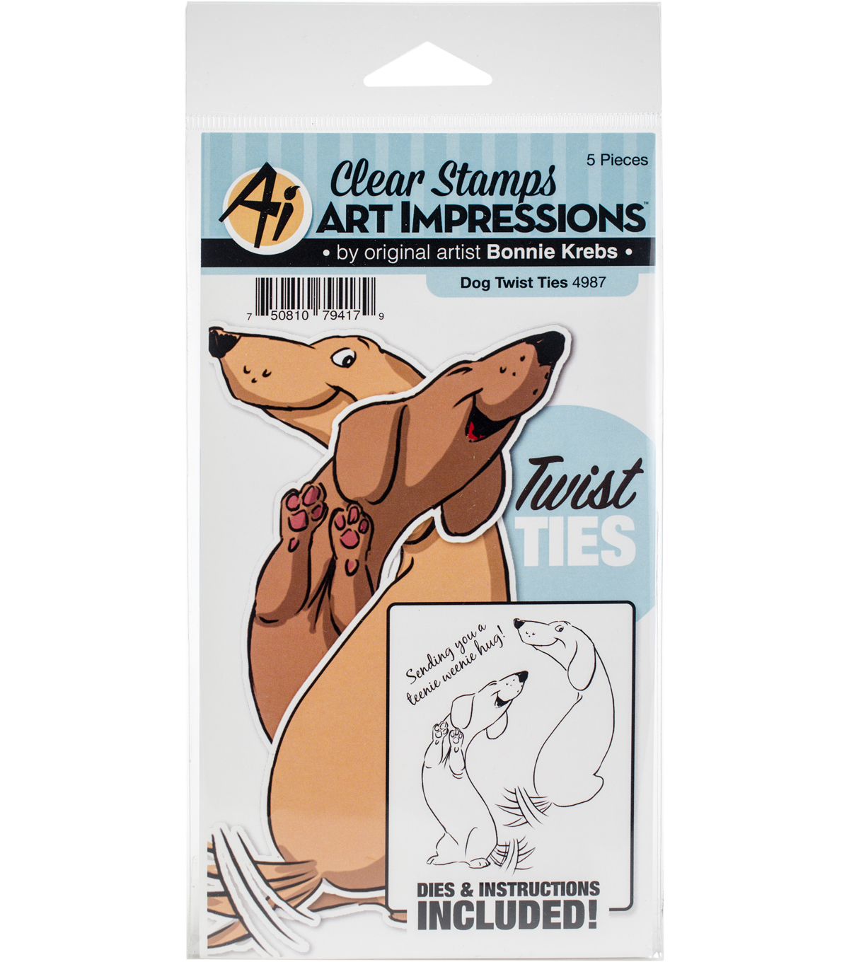 Art Impressions Twist Ties Stamp & Die Set-Dog