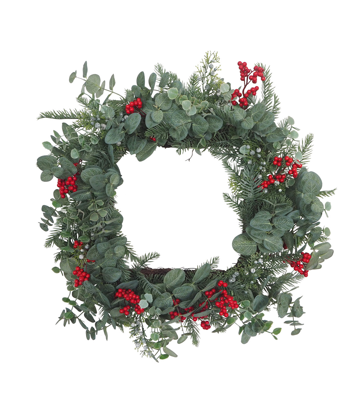 Blooming Holiday Christmas Square Greenery & Berry Wreath