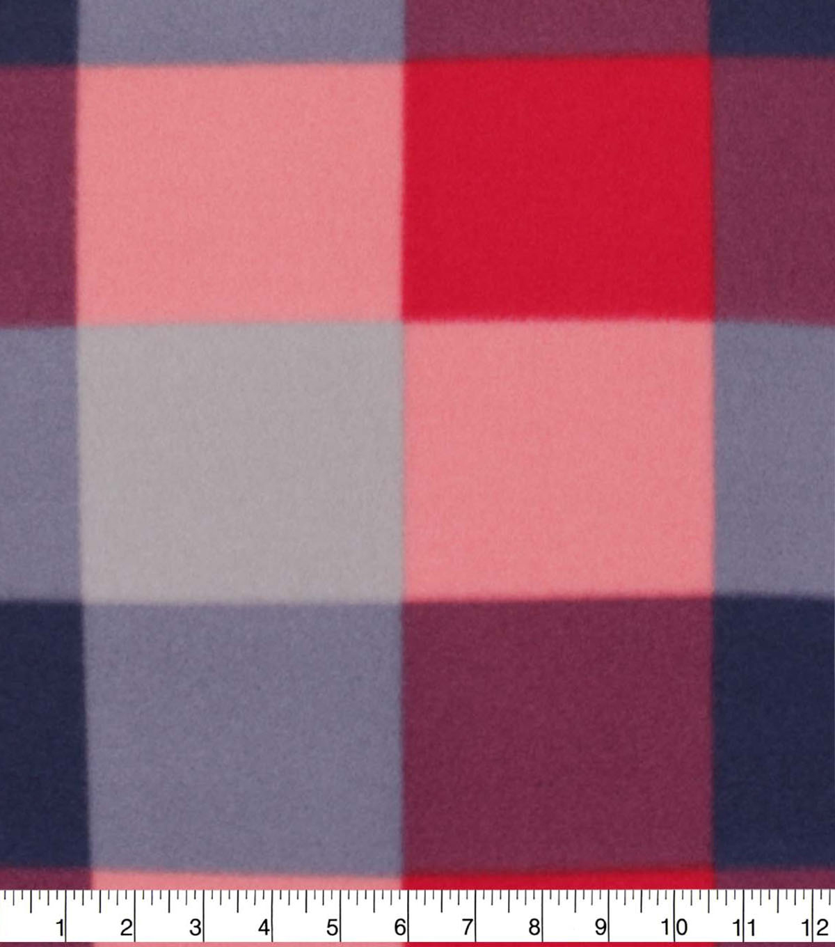Blizzard Fleece Fabric-Navy & Red Check Plaid