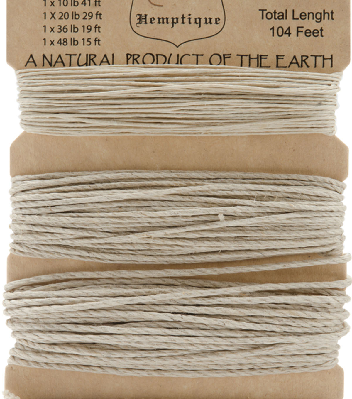 Hemptique 104\u0027 Assorted Hemp Cord Card-Natural