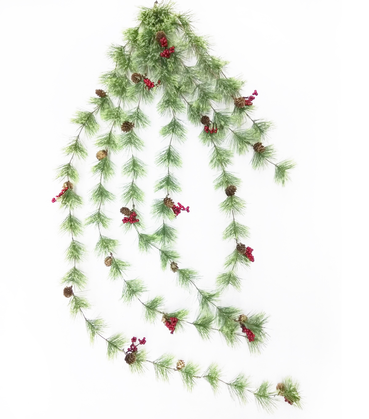 Blooming Holiday Christmas Spider Pine, Pinecone & Red Berry Garland