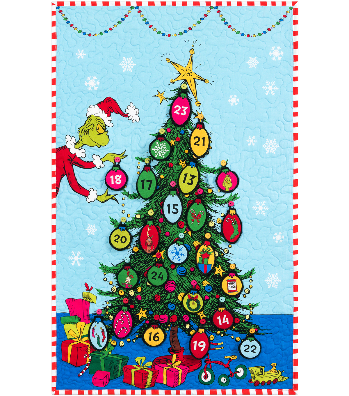 The Grinch Cotton Pannel 36\u0022 x-Advent Calendar