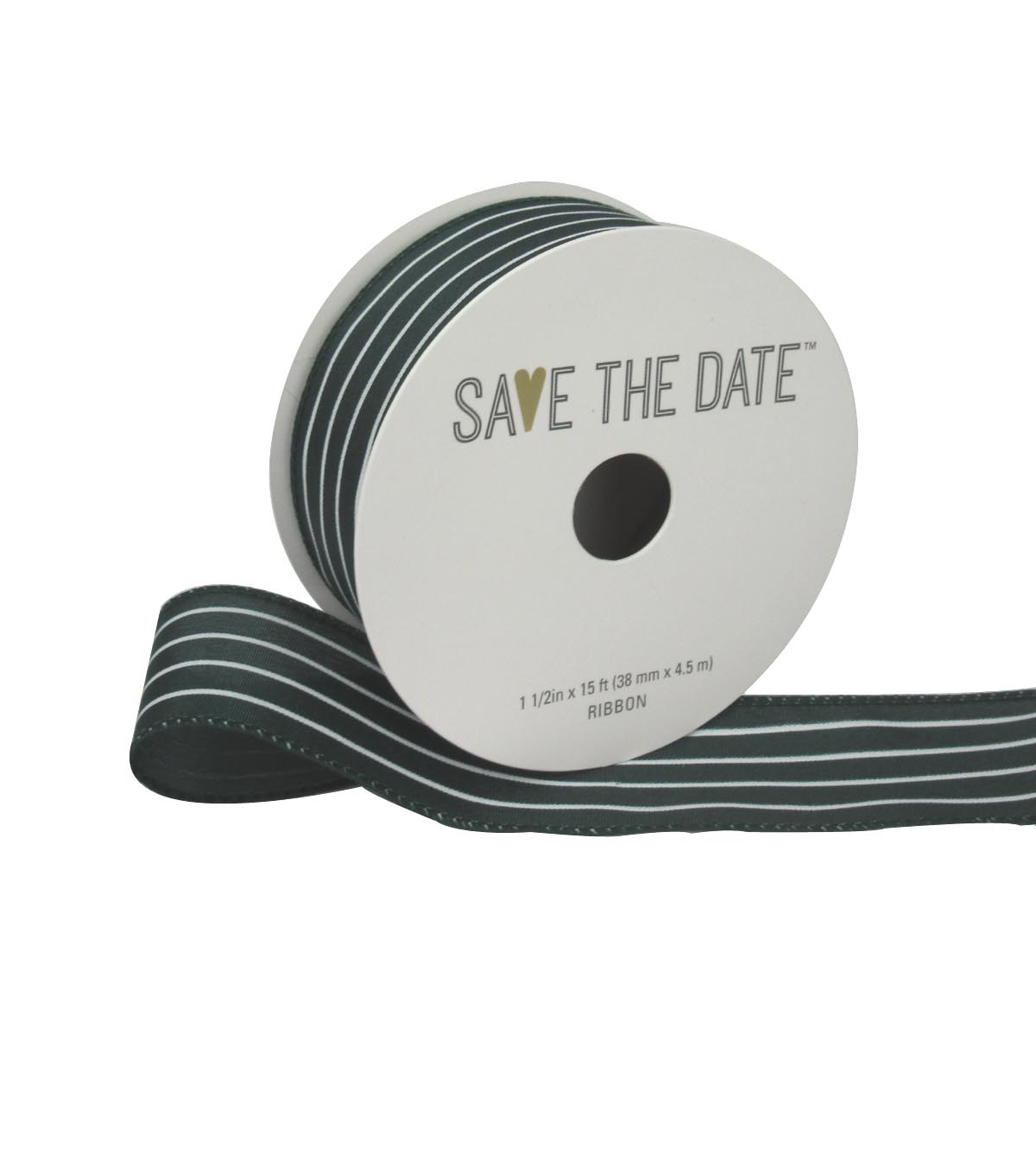 Save the Date 1.5\u0022 x 15ft Ribbon-Hunter White Stripe