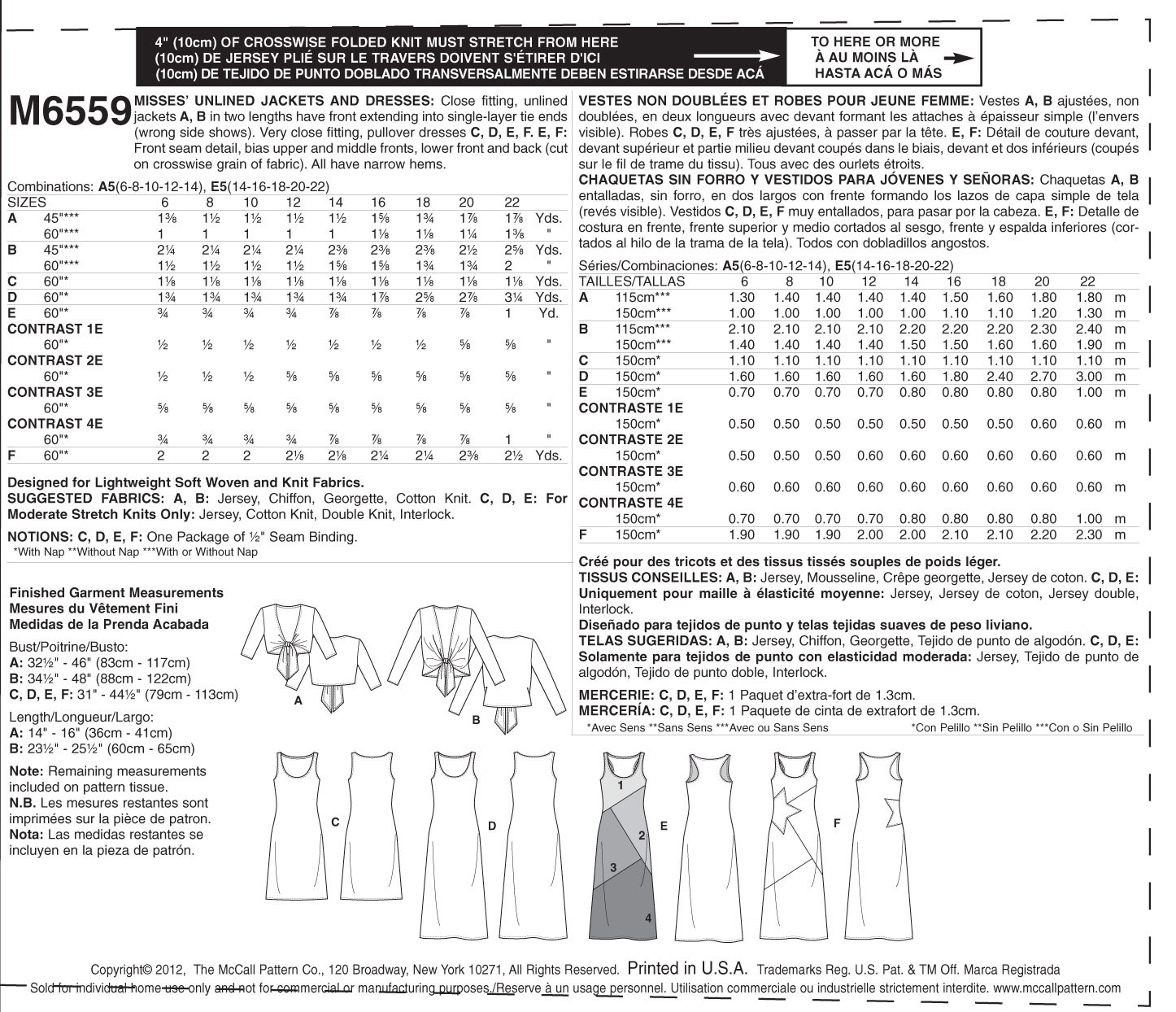 Misses\' Unlined Jackets and Dresses-A5 (6-8-10-12-14) Pattern | JOANN