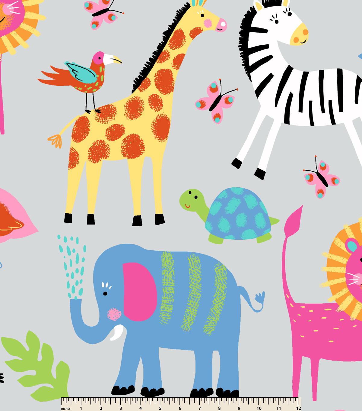 Nursery Fleece Fabric -All Over Animal Print