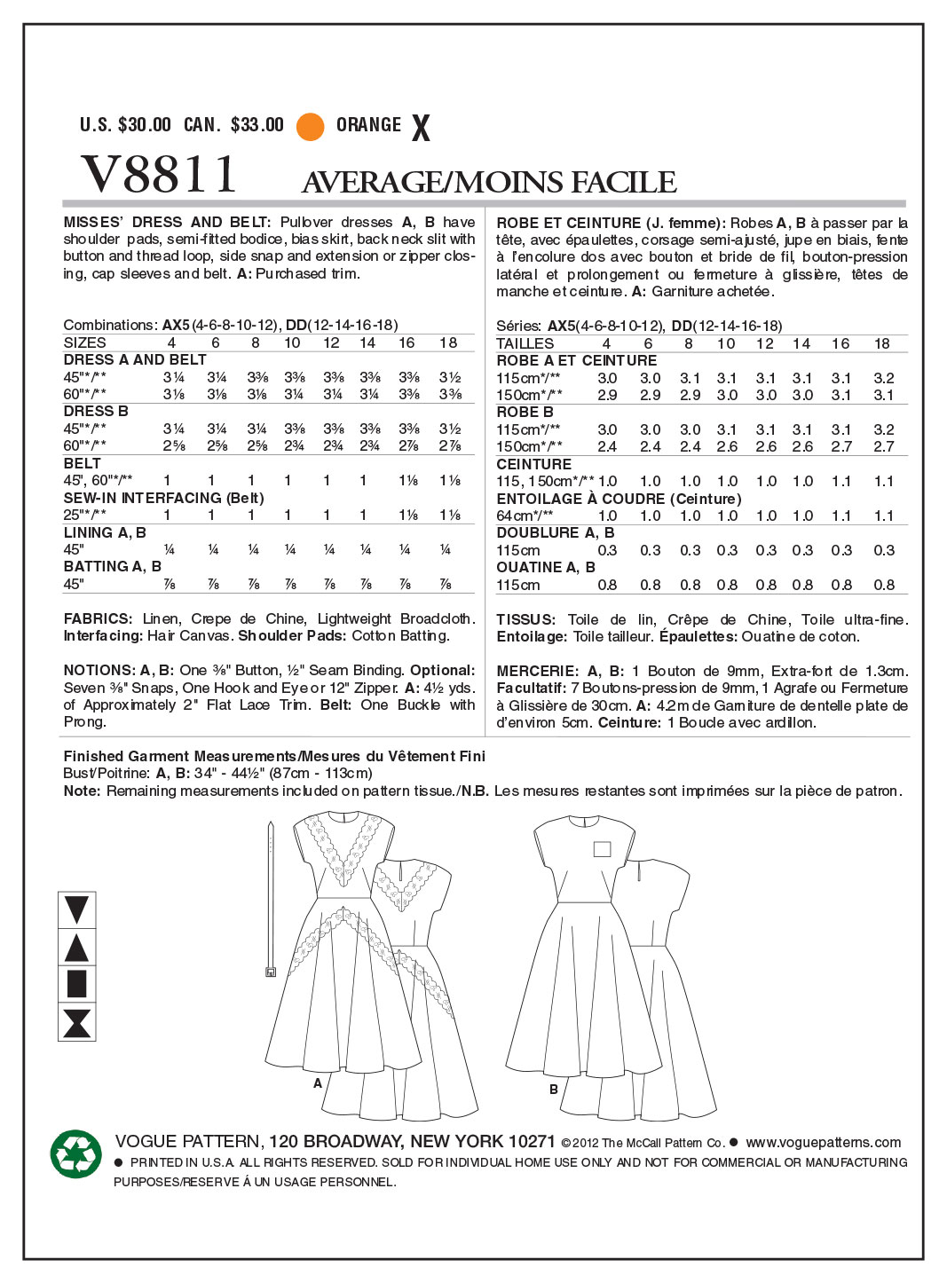 Vogue Patterns Misses Dress-V8811