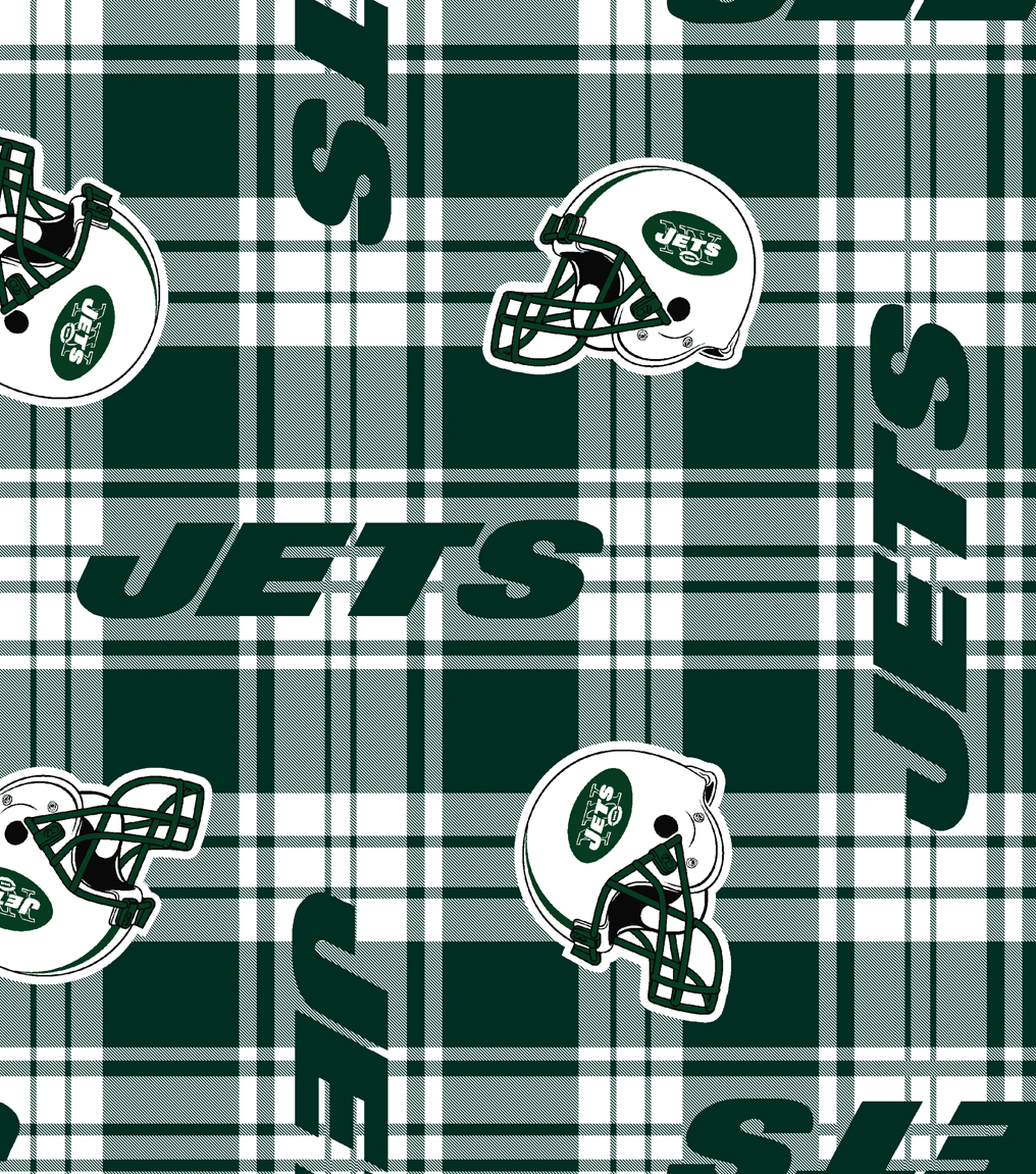 New York Jets Fleece Fabric 58\u0022-Plaid