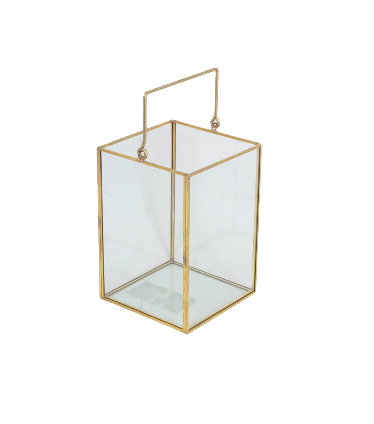 Save the Date Clear Glass Lantern with Gold Edges