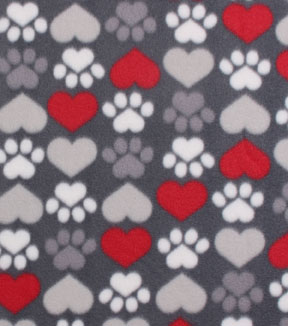Blizzard Fleece Fabric -Pup Paws & Hearts