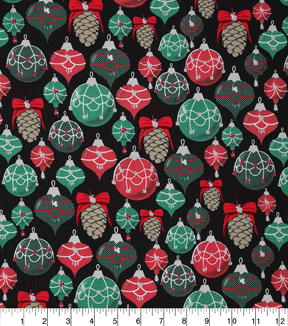 Christmas Cotton Fabric-Metallic Ornamants