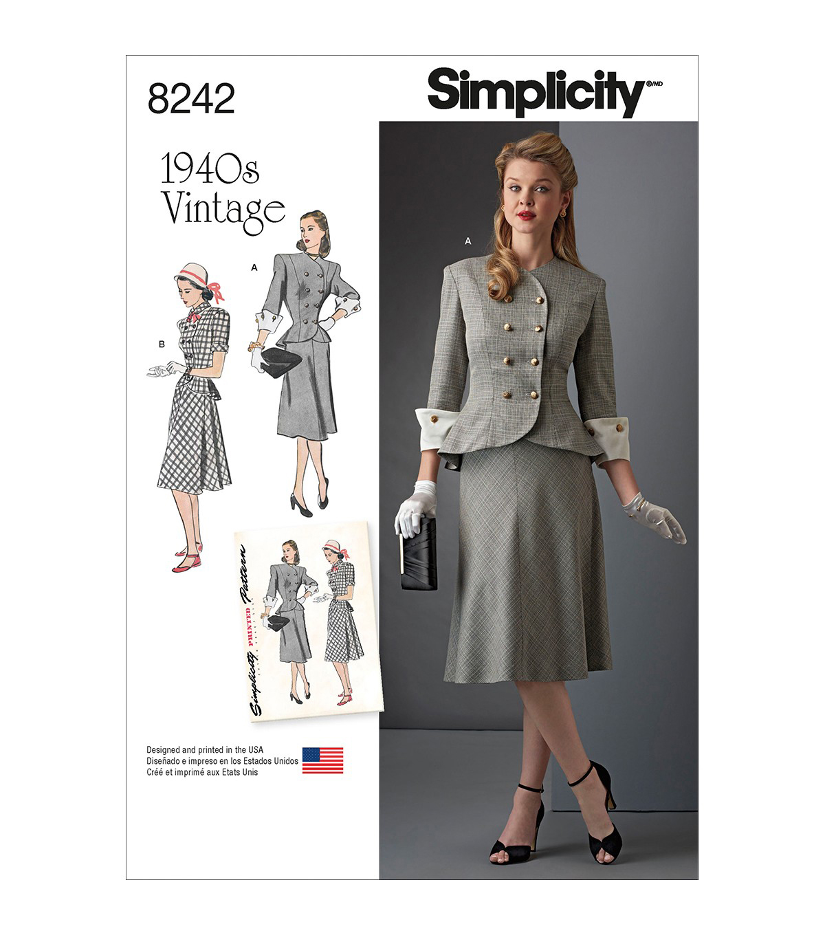 Simplicity Pattern 8242 Misses\' & Plus Size Vintage 1940s Dress