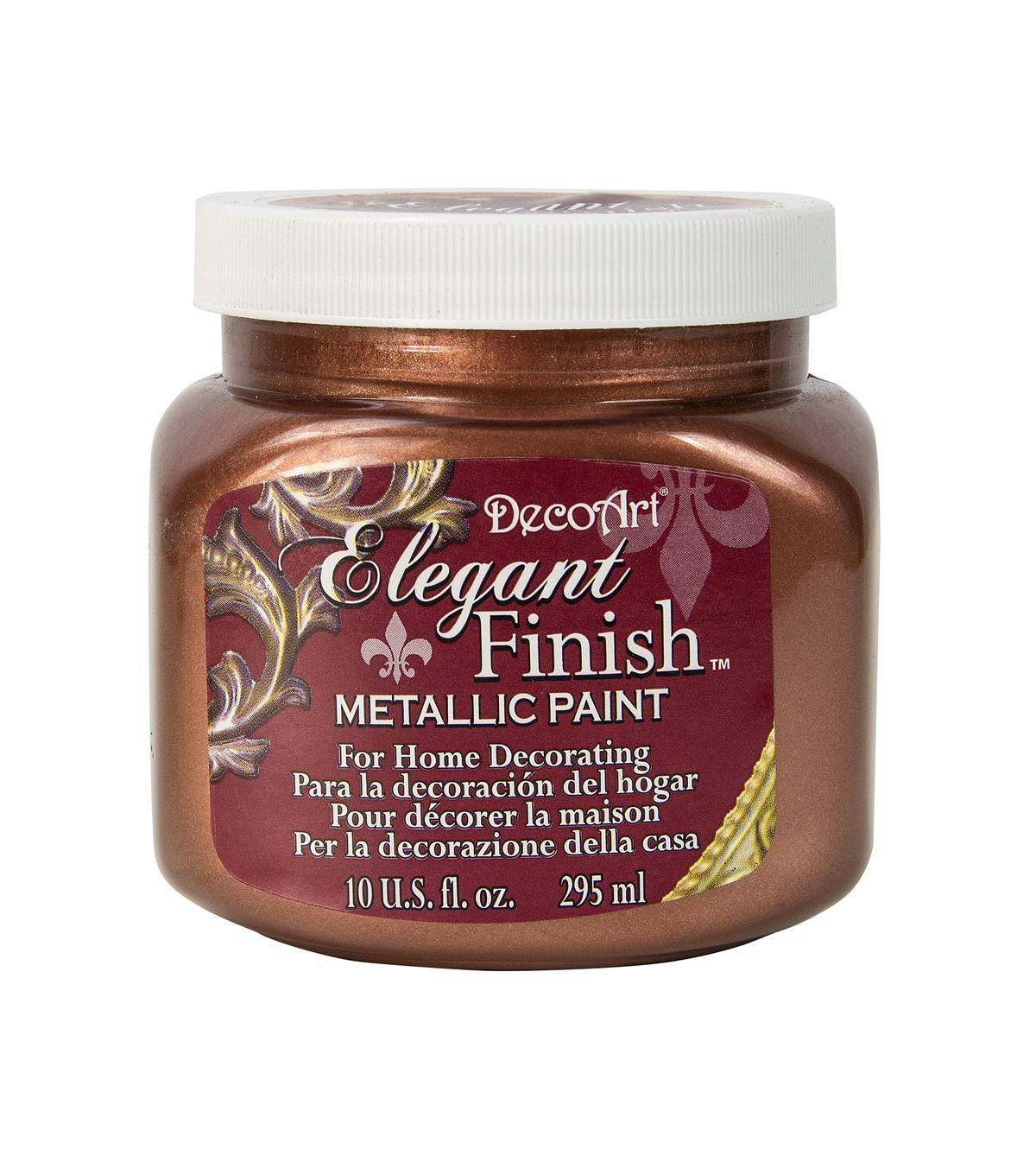 DecoArt Elegant Finish 10 fl. oz. Metallic Paint-Worn Penny