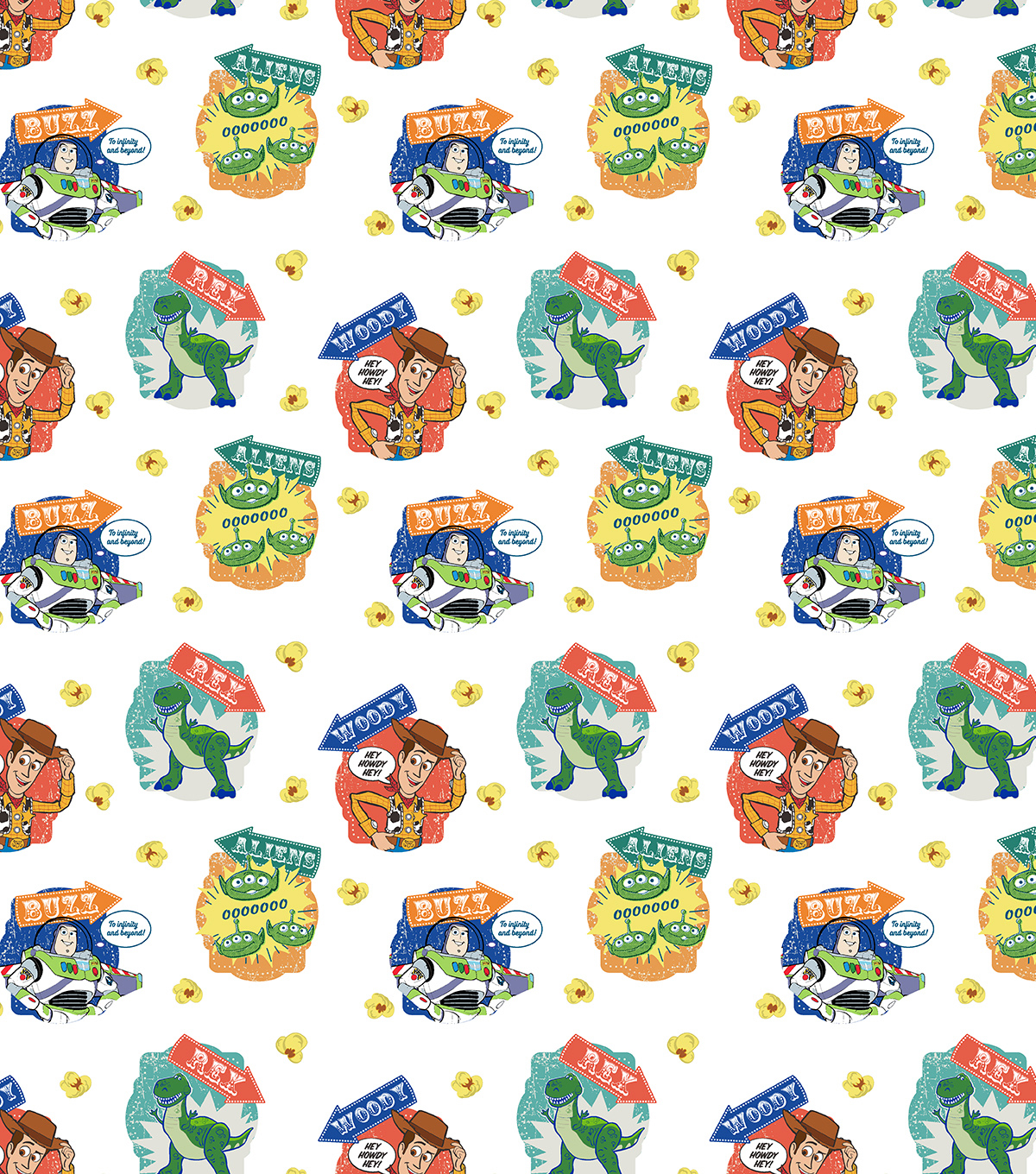 Disney Toy Story 4 Cotton Fabric-Character Badges