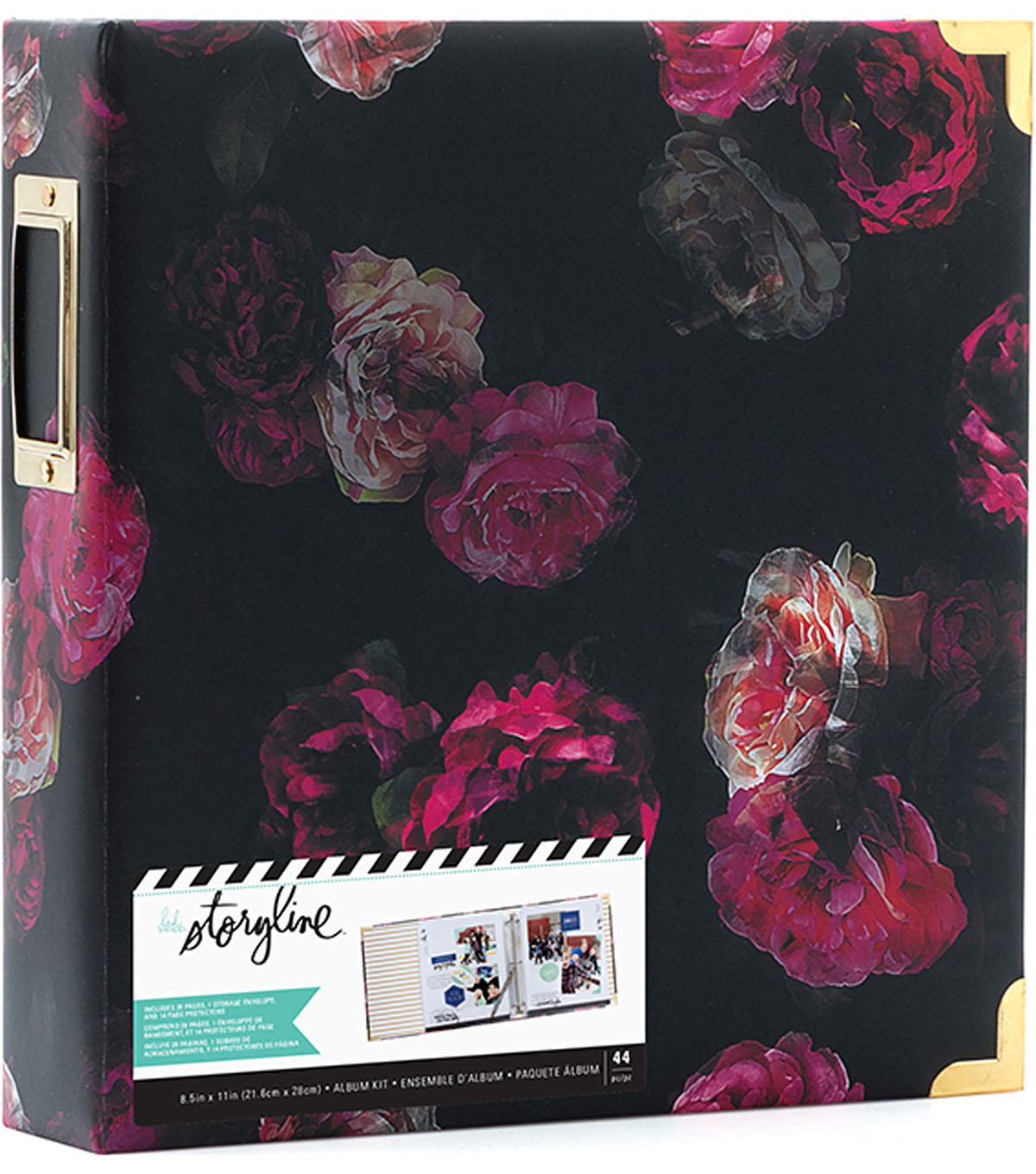 Heidi Swapp Storyline2 D-Ring Album Kit-Dark Floral