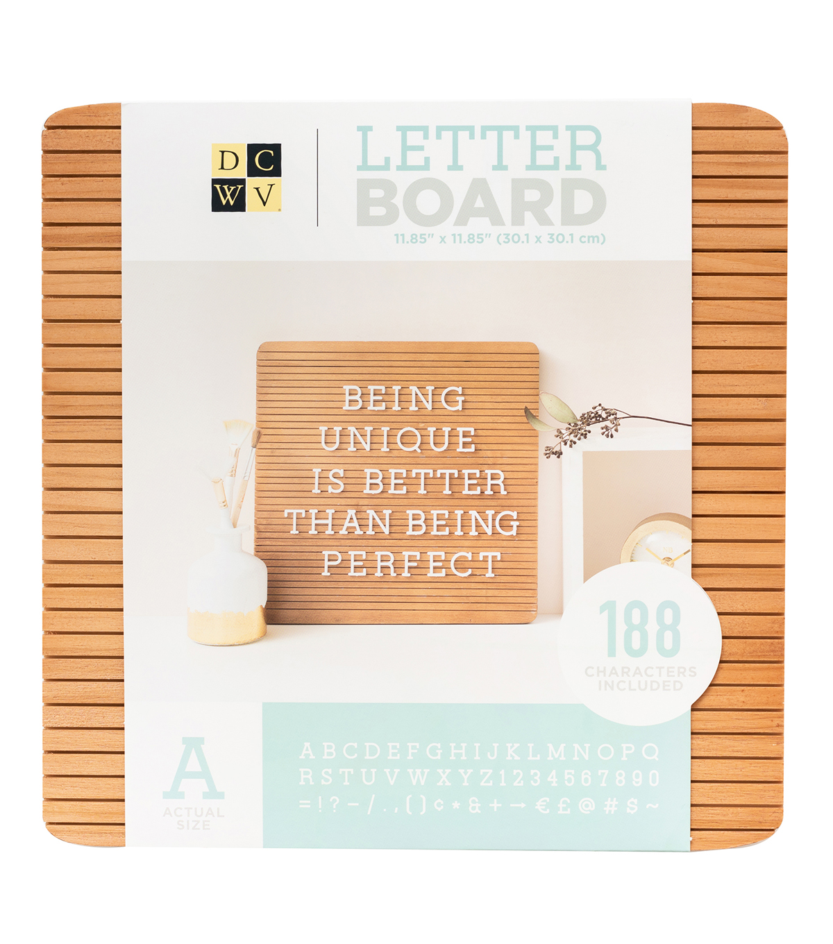 DCWV Letterboard 12x12 Real Wood Dark with White Letters