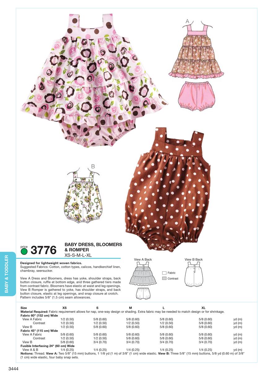 Dress, Bloomers & Romper-XS-S-M-L-XL Pattern   JOANN