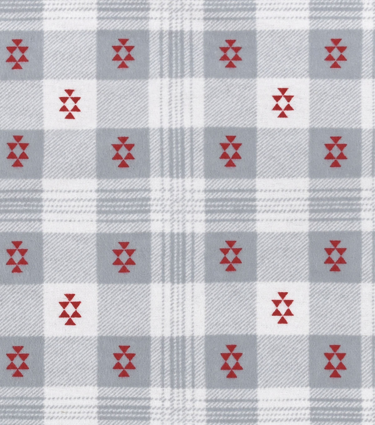 Snuggle Flannel Fabric 42\u0022-Aztec Plaid Gray Red