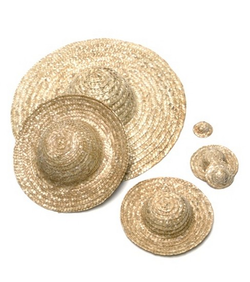 Round Top Straw Hat 18\u0022-Natural