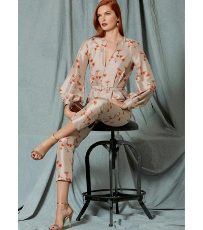 Vogue Pattern V1523 Misses\u0027 Bishop Sleeve Jumpsuit & Belt-Size 6-14