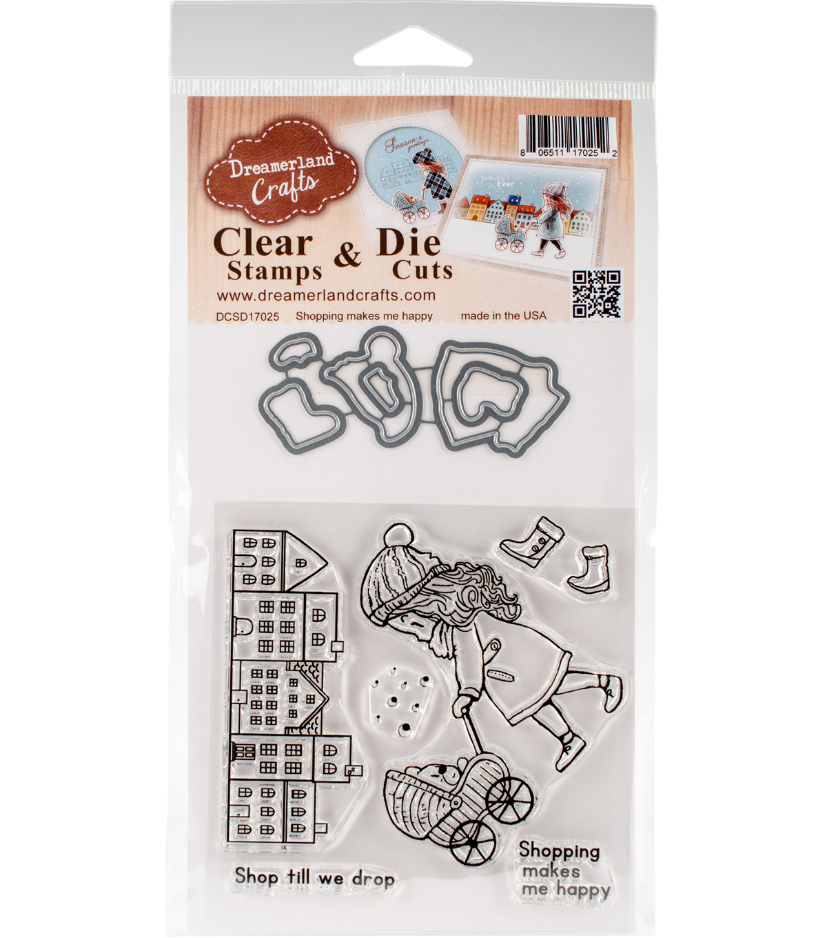 Dreamerland Crafts Clear Stamp & Die Cut Set-Shopping Makes Me Happy