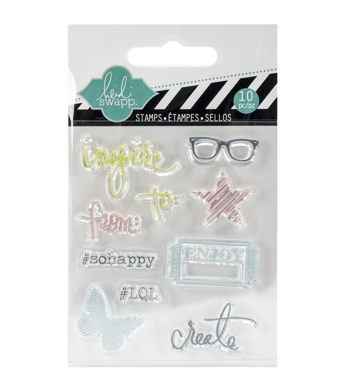 Heidi Swapp Mixed Media Clear Mini Stamps 3\u0022X3.5\u0022-Inspire