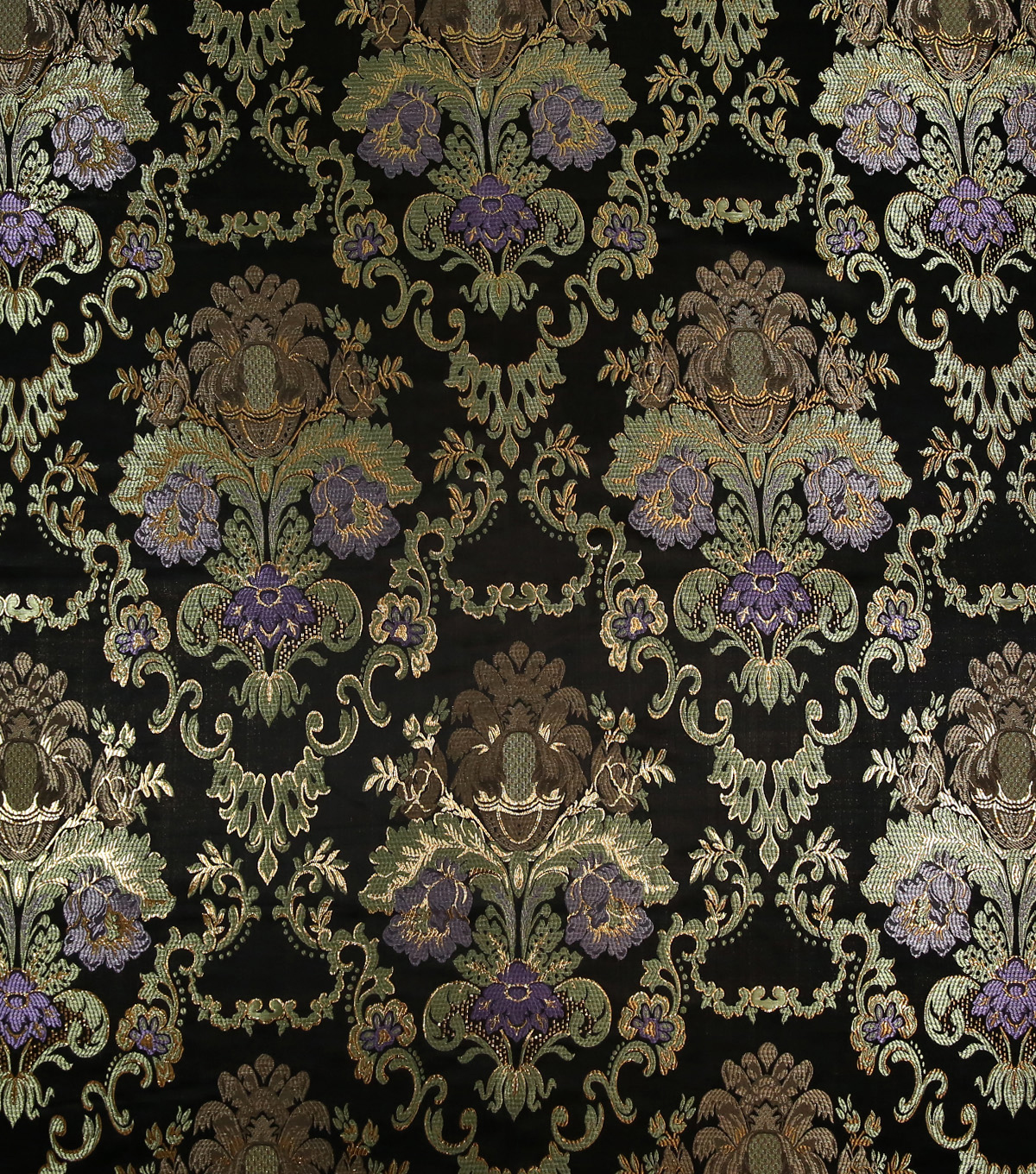 Brocade Fabric-Black, Gold & Purple Large Scale