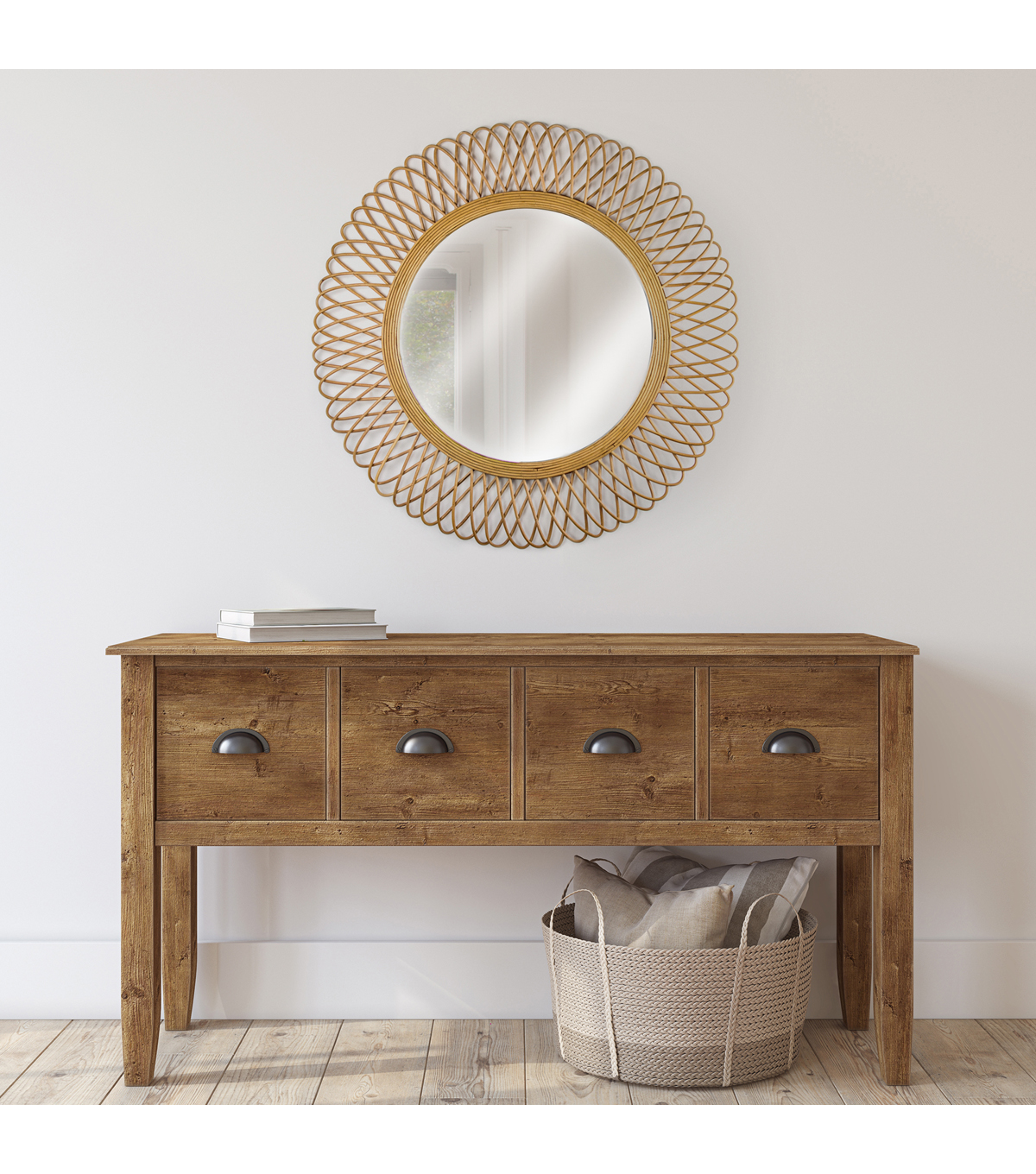 """Bamboo Weave Accent Wall: Furniture Finds 32"""" Woven Rattan Sunburst Accent Wall"""
