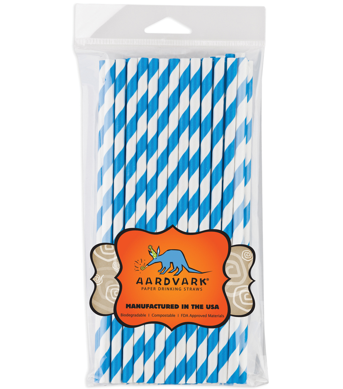 Aardvark Jumbo Straw Unwrapped Striped 7.75\u0027\u0027 50pcs