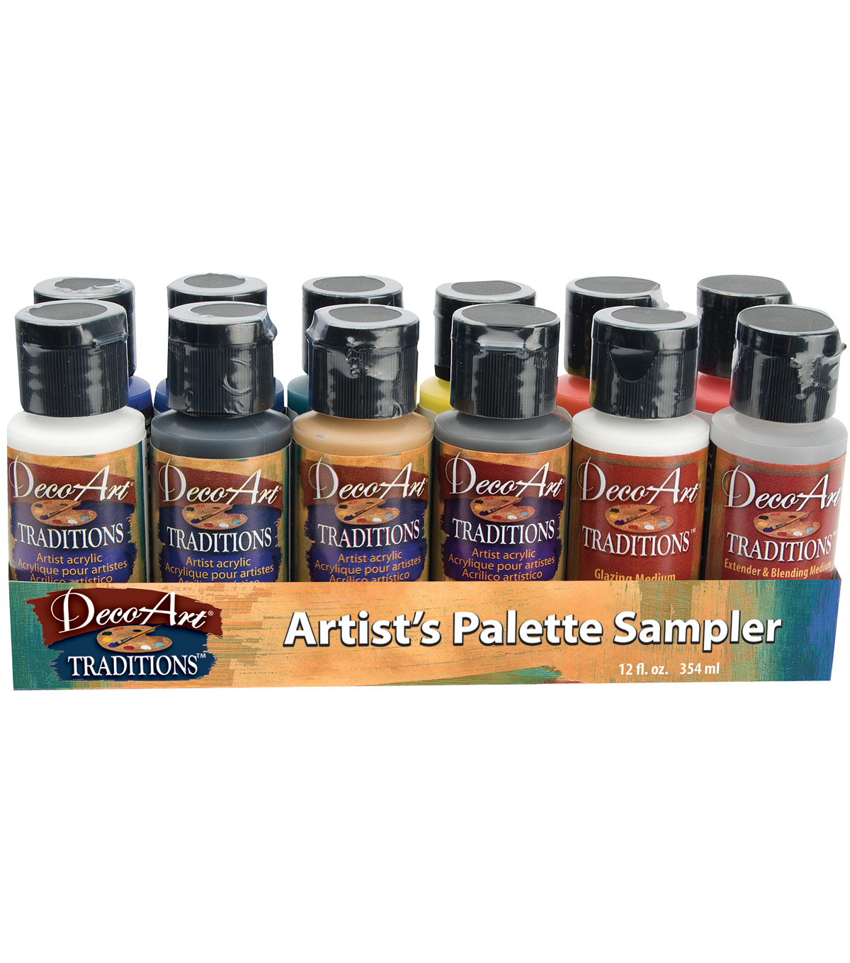 Deco Art Traditions Acrylic Palette Sampler 1 Ounce 12/Pkg
