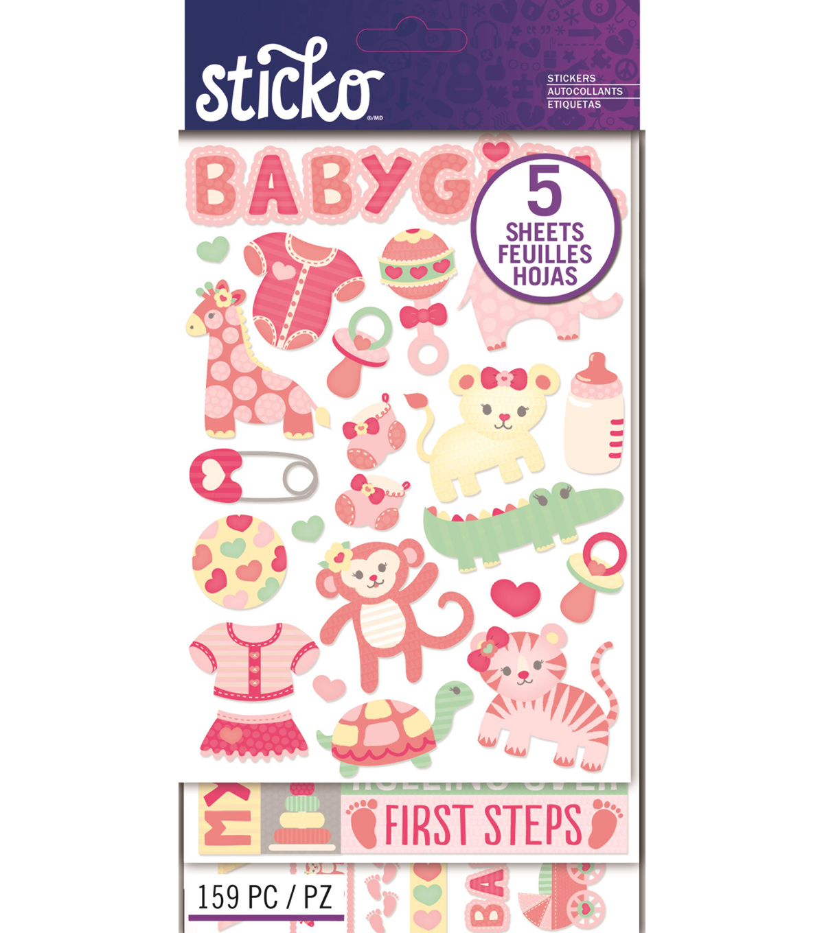 Sticko 159 Pack Flip Stickers-Baby Girl
